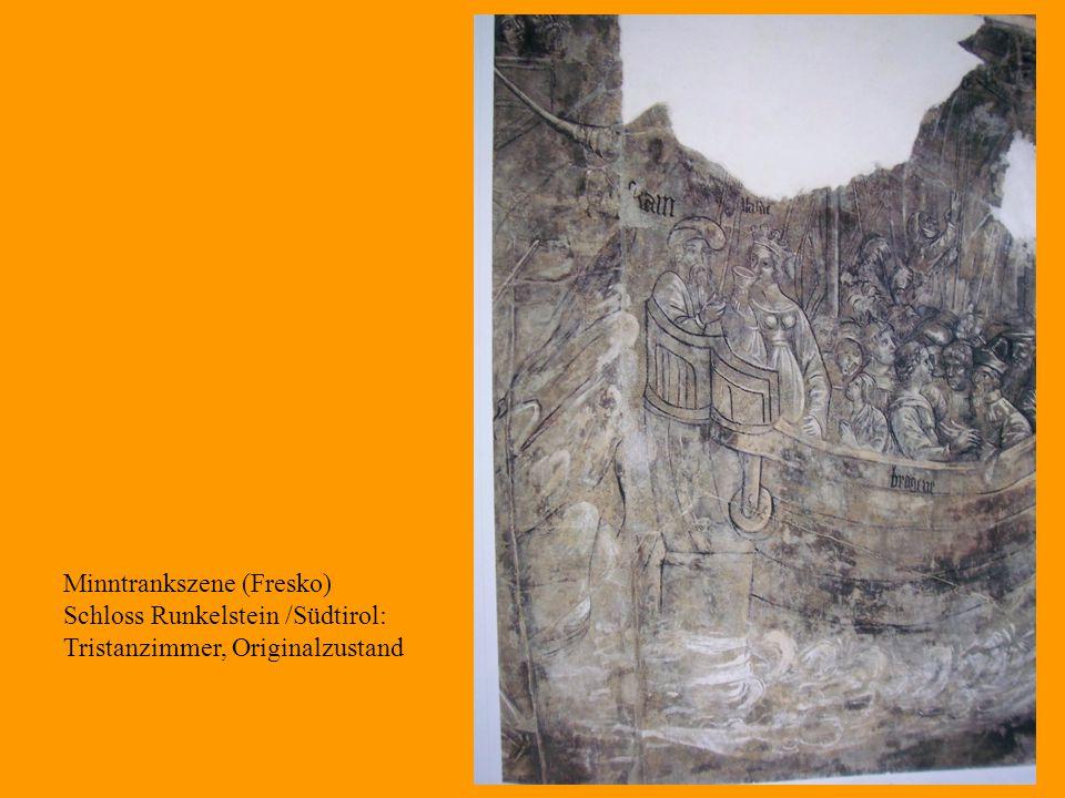 30 Minntrankszene (Fresko) Schloss Runkelstein /Südtirol: Tristanzimmer, Originalzustand