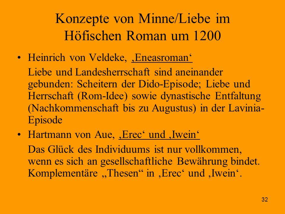 32 Konzepte von Minne/Liebe im Höfischen Roman um 1200 Heinrich von Veldeke, 'Eneasroman' Liebe und Landesherrschaft sind aneinander gebunden: Scheite