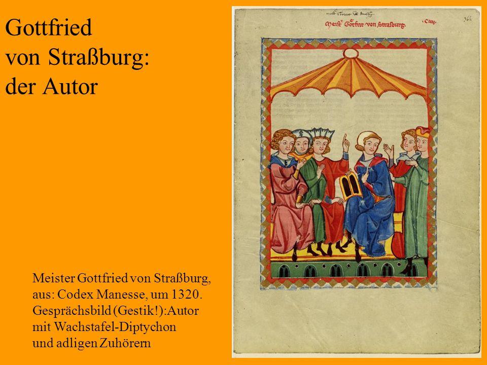 7 Gottfried von Straßburg: der Autor Meister Gottfried von Straßburg, aus: Codex Manesse, um 1320. Gesprächsbild (Gestik!):Autor mit Wachstafel-Diptyc