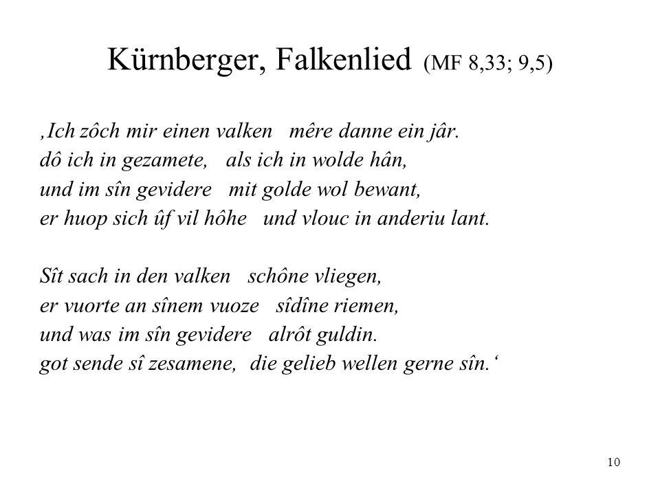 10 Kürnberger, Falkenlied (MF 8,33; 9,5) 'Ich zôch mir einen valken mêre danne ein jâr.
