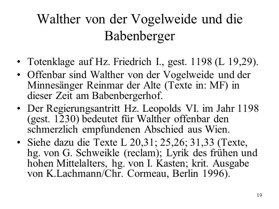 19 Walther von der Vogelweide und die Babenberger Totenklage auf Hz.