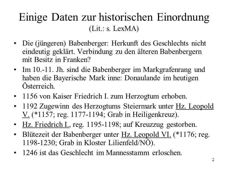 13 Donauländischer Minnesang (3) Der Burggraf von Regensburg (s.