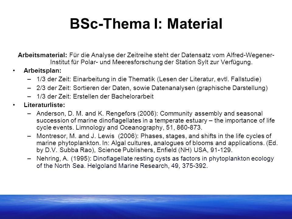 BSc-Thema I: Material Arbeitsmaterial: Für die Analyse der Zeitreihe steht der Datensatz vom Alfred-Wegener- Institut für Polar- und Meeresforschung der Station Sylt zur Verfügung.