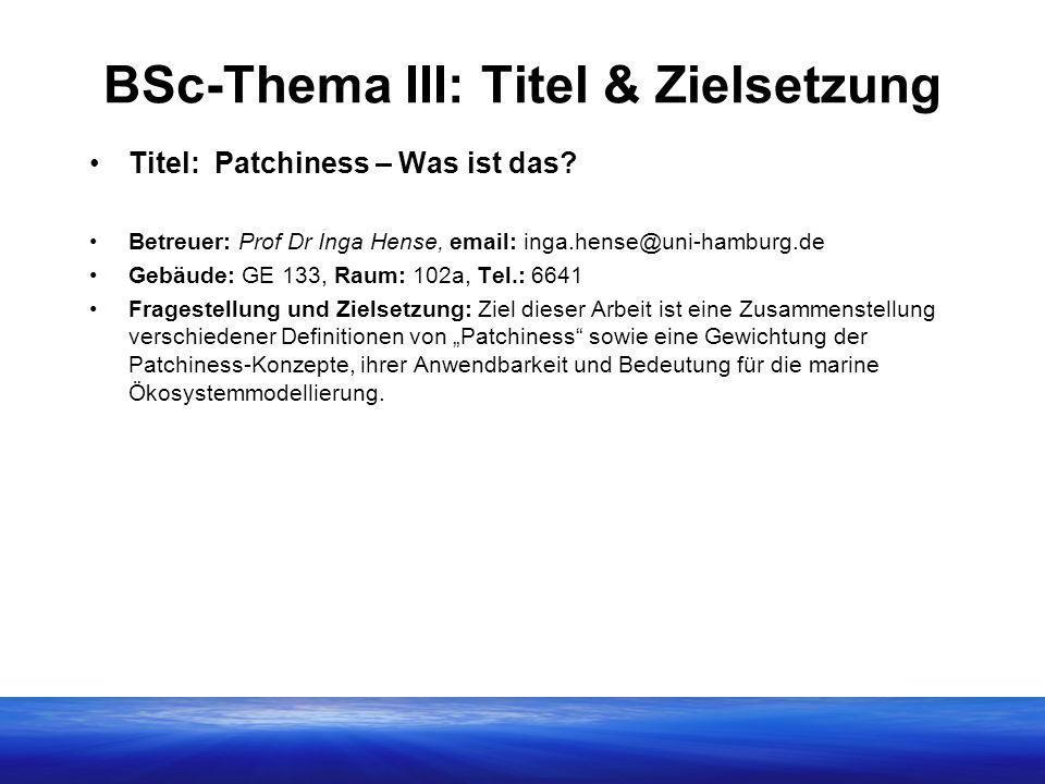 BSc-Thema III: Titel & Zielsetzung Titel: Patchiness – Was ist das? Betreuer: Prof Dr Inga Hense, email: inga.hense@uni-hamburg.de Gebäude: GE 133, Ra