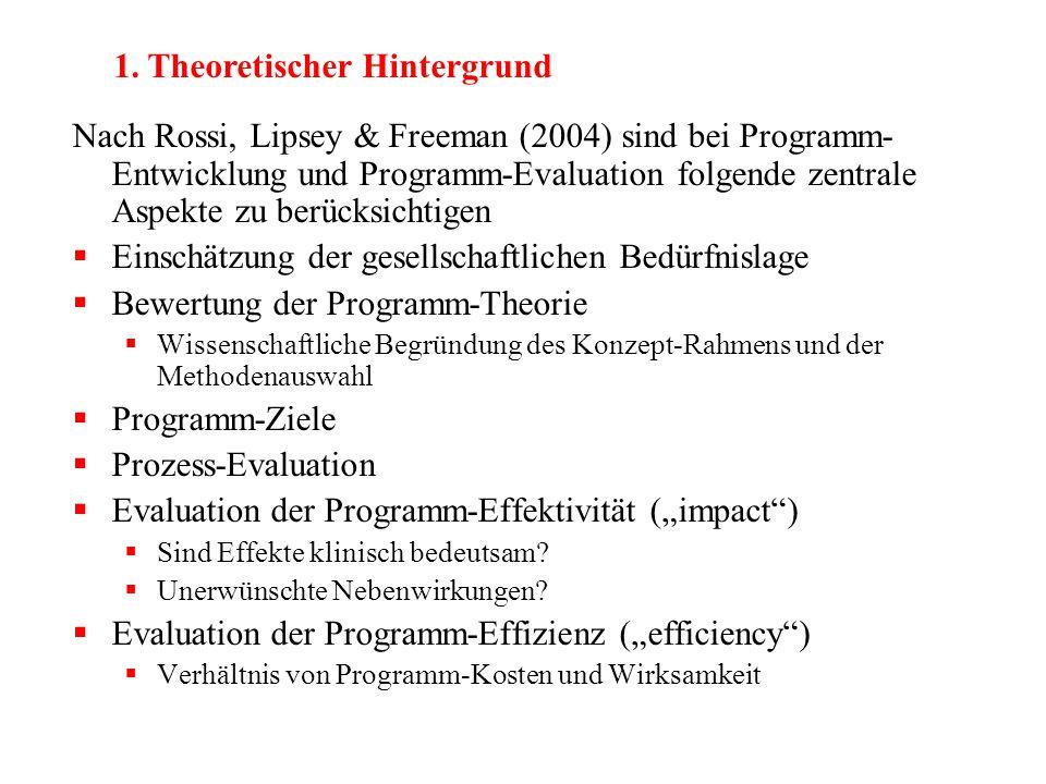 Nach Rossi, Lipsey & Freeman (2004) sind bei Programm- Entwicklung und Programm-Evaluation folgende zentrale Aspekte zu berücksichtigen  Einschätzung