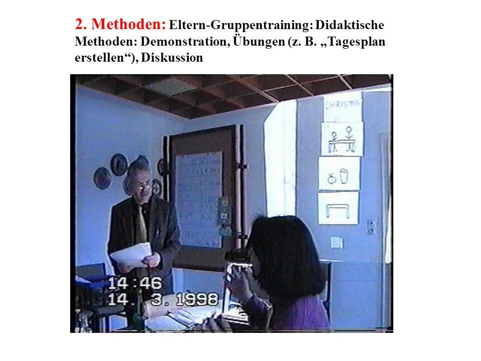 """2. Methoden: Eltern-Gruppentraining: Didaktische Methoden: Demonstration, Übungen (z. B. """"Tagesplan erstellen""""), Diskussion"""