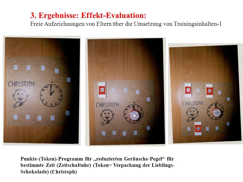 """3. Ergebnisse: Effekt-Evaluation: Freie Aufzeichnungen von Eltern über die Umsetzung von Trainingsinhalten-1 Punkte-(Token)-Programm für """"reduzierten"""