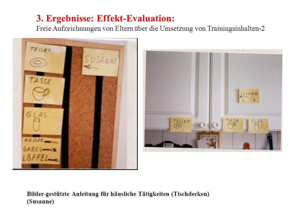 3. Ergebnisse: Effekt-Evaluation: Freie Aufzeichnungen von Eltern über die Umsetzung von Trainingsinhalten-2 Bilder-gestützte Anleitung für häusliche