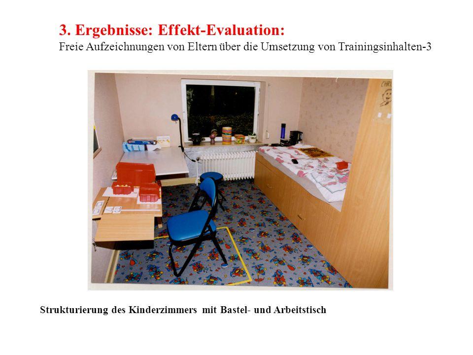 3. Ergebnisse: Effekt-Evaluation: Freie Aufzeichnungen von Eltern über die Umsetzung von Trainingsinhalten-3 Strukturierung des Kinderzimmers mit Bast