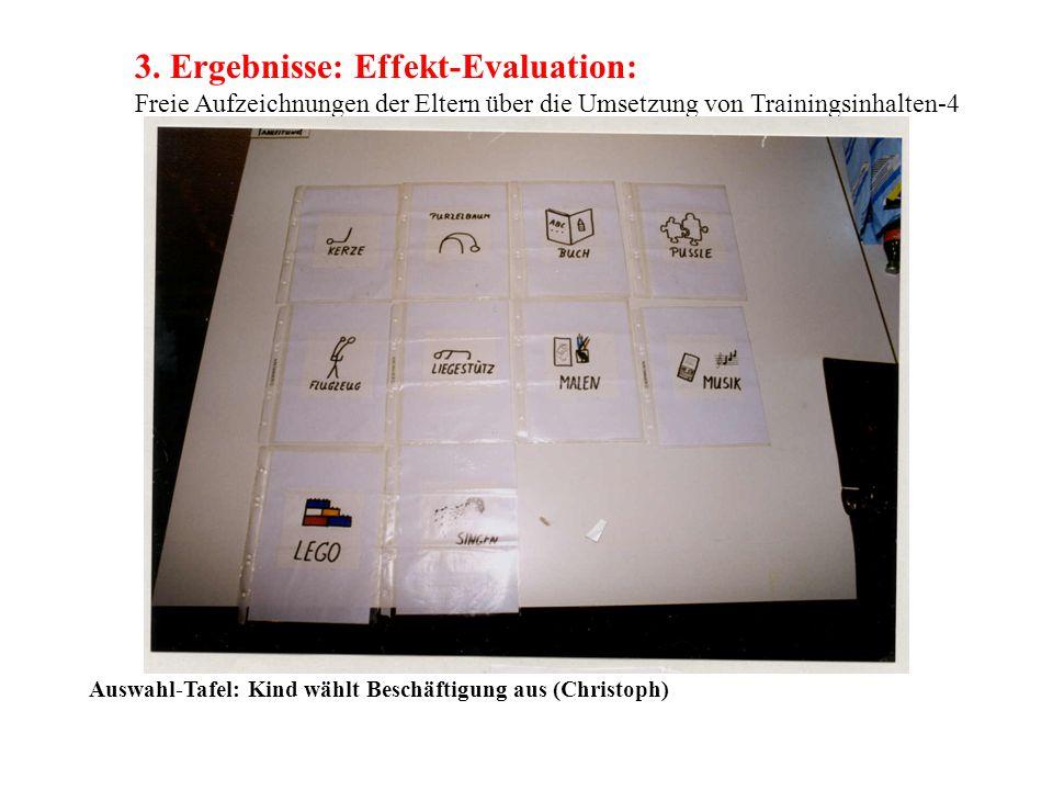 3. Ergebnisse: Effekt-Evaluation: Freie Aufzeichnungen der Eltern über die Umsetzung von Trainingsinhalten-4 Auswahl-Tafel: Kind wählt Beschäftigung a