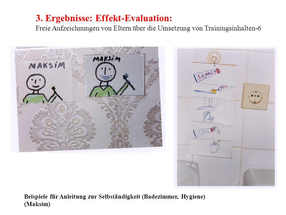 3. Ergebnisse: Effekt-Evaluation: Freie Aufzeichnungen von Eltern über die Umsetzung von Trainingsinhalten-6 Beispiele für Anleitung zur Selbständigke