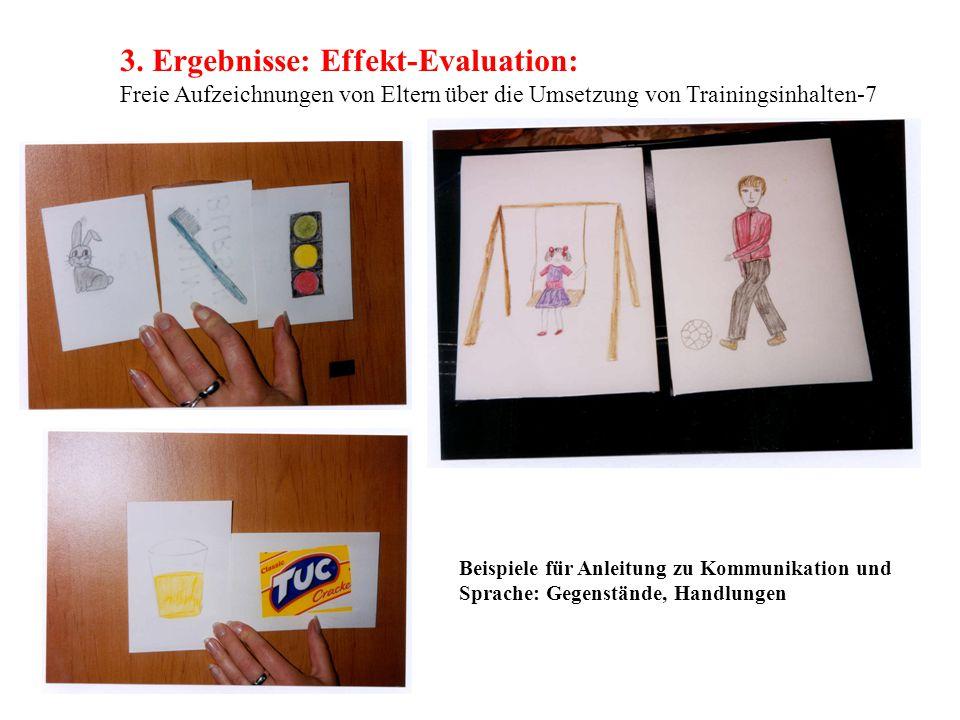3. Ergebnisse: Effekt-Evaluation: Freie Aufzeichnungen von Eltern über die Umsetzung von Trainingsinhalten-7 Beispiele für Anleitung zu Kommunikation