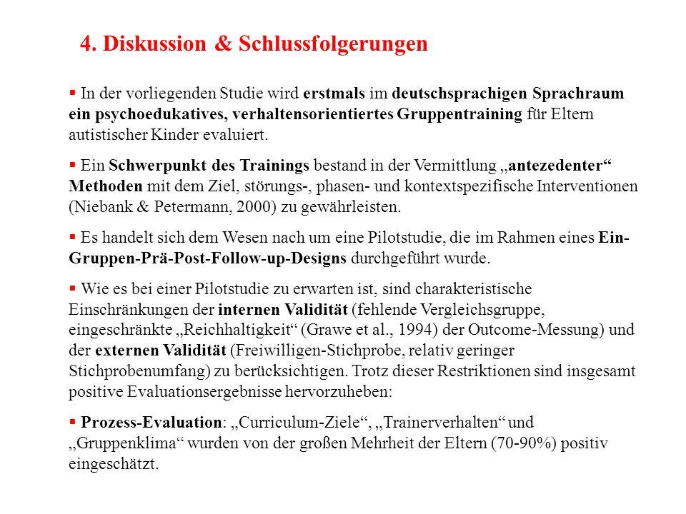 4. Diskussion & Schlussfolgerungen  In der vorliegenden Studie wird erstmals im deutschsprachigen Sprachraum ein psychoedukatives, verhaltensorientie