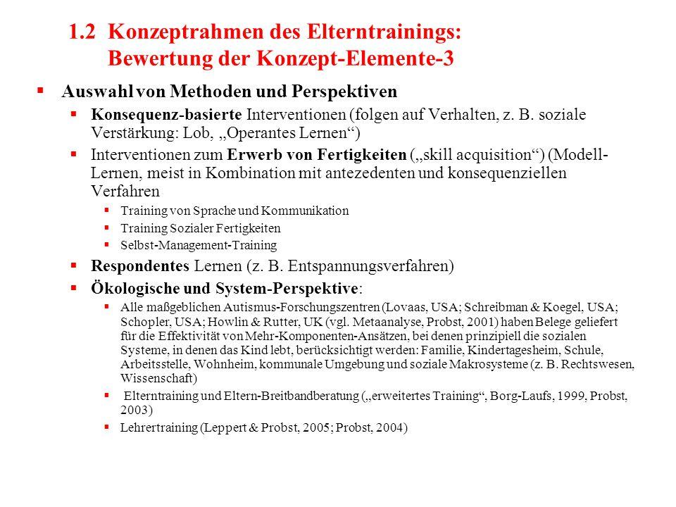 1.2 Konzeptrahmen des Elterntrainings: Bewertung der Konzept-Elemente-3  Auswahl von Methoden und Perspektiven  Konsequenz-basierte Interventionen (