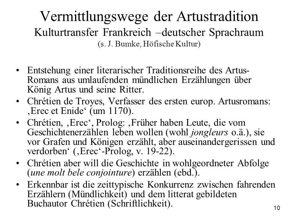 10 Vermittlungswege der Artustradition Kulturtransfer Frankreich –deutscher Sprachraum (s. J. Bumke, Höfische Kultur) Entstehung einer literarischer T