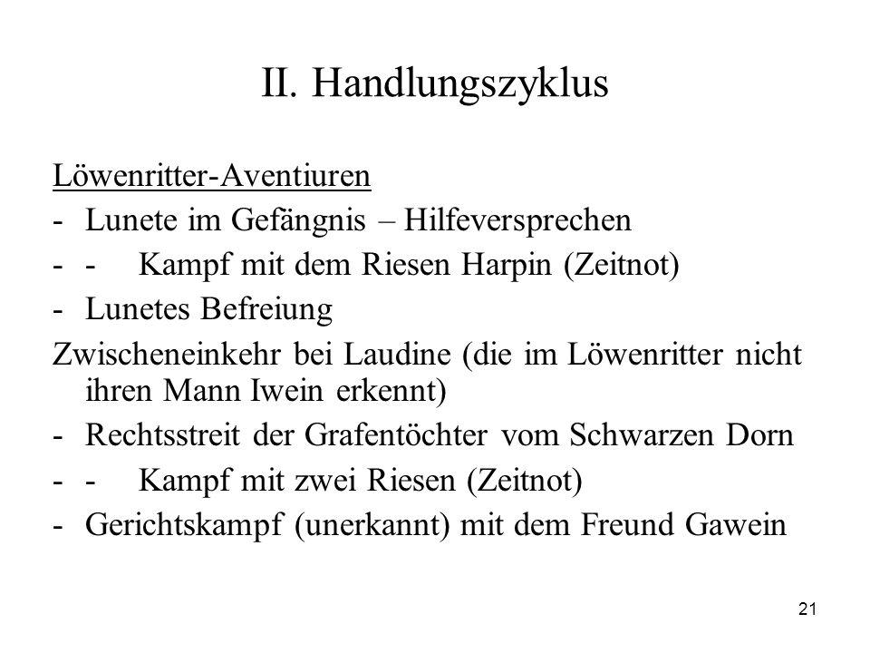 21 II. Handlungszyklus Löwenritter-Aventiuren -Lunete im Gefängnis – Hilfeversprechen -- Kampf mit dem Riesen Harpin (Zeitnot) -Lunetes Befreiung Zwis