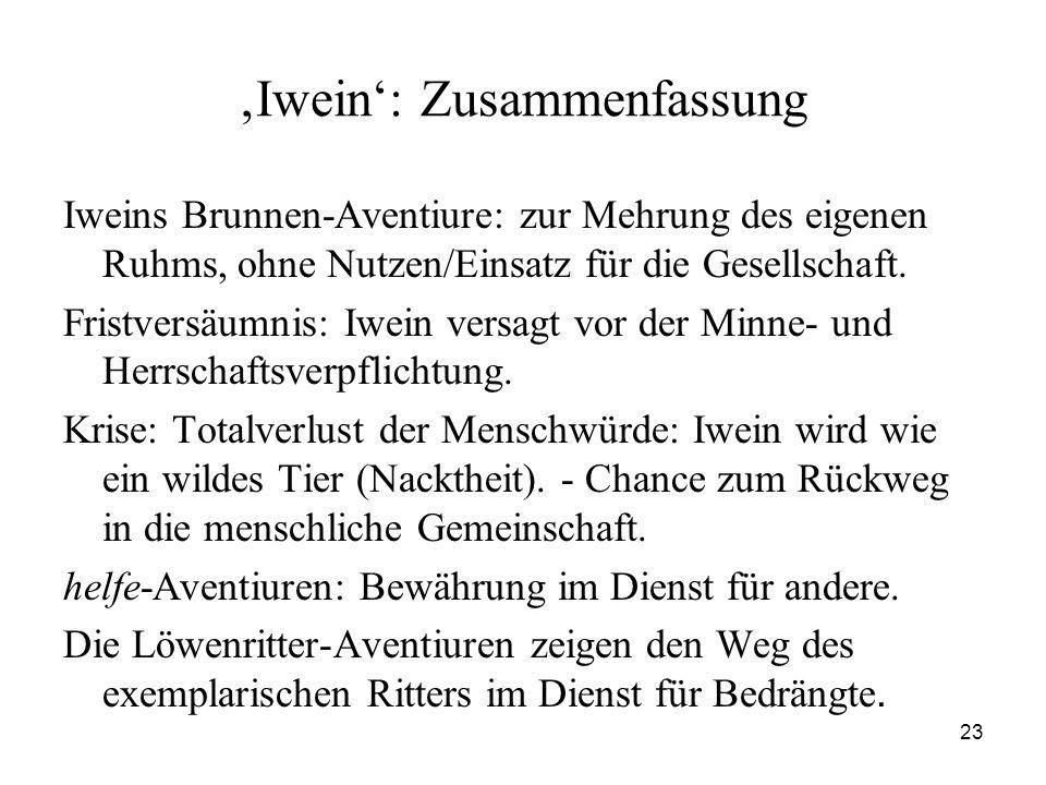23 'Iwein': Zusammenfassung Iweins Brunnen-Aventiure: zur Mehrung des eigenen Ruhms, ohne Nutzen/Einsatz für die Gesellschaft. Fristversäumnis: Iwein