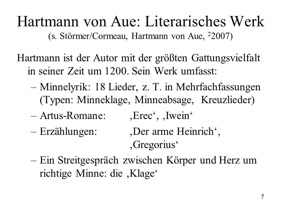 7 Hartmann von Aue: Literarisches Werk (s. Störmer/Cormeau, Hartmann von Aue, 2 2007) Hartmann ist der Autor mit der größten Gattungsvielfalt in seine
