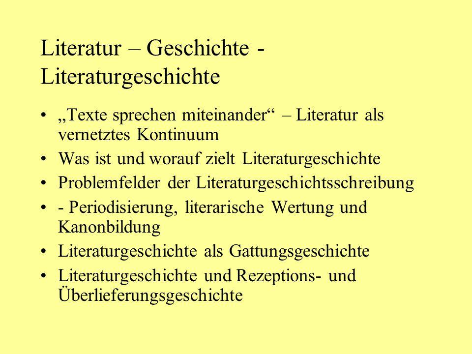 """Literatur – Geschichte - Literaturgeschichte """"Texte sprechen miteinander"""" – Literatur als vernetztes Kontinuum Was ist und worauf zielt Literaturgesch"""