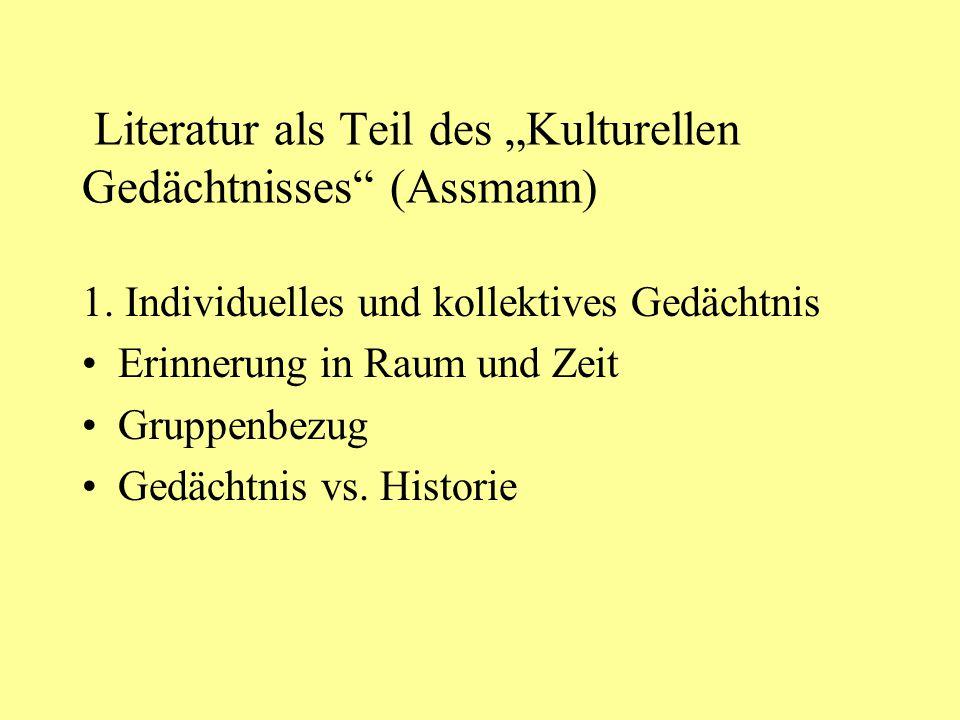 """Literatur als Teil des """"Kulturellen Gedächtnisses"""" (Assmann) 1. Individuelles und kollektives Gedächtnis Erinnerung in Raum und Zeit Gruppenbezug Gedä"""