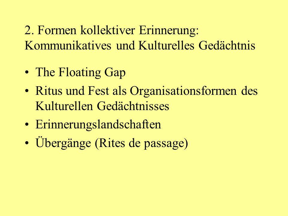 2. Formen kollektiver Erinnerung: Kommunikatives und Kulturelles Gedächtnis The Floating Gap Ritus und Fest als Organisationsformen des Kulturellen Ge
