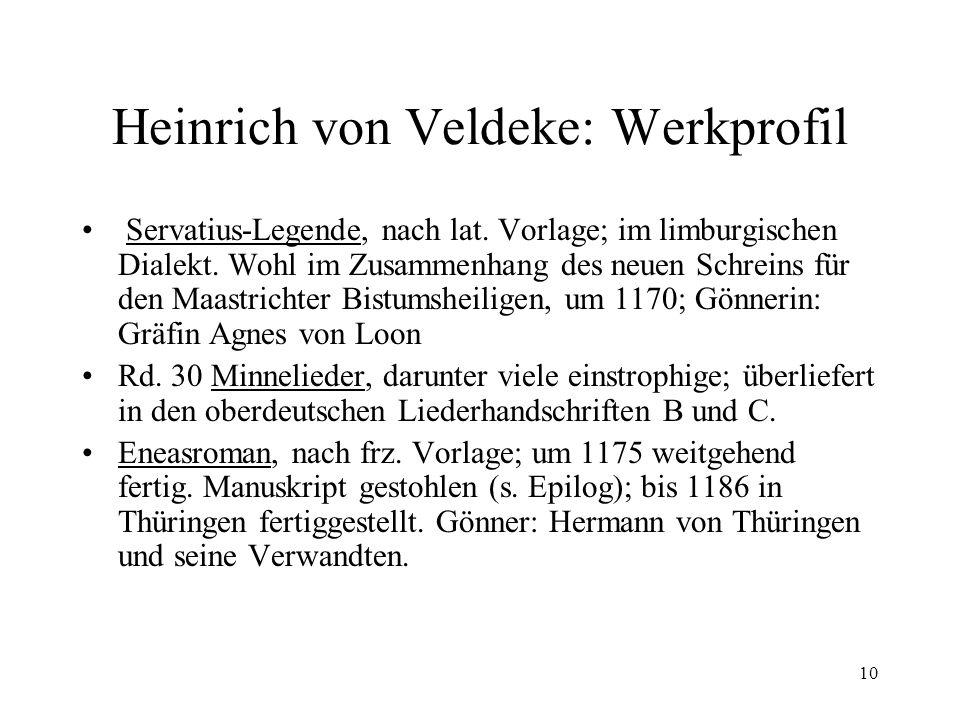 10 Heinrich von Veldeke: Werkprofil Servatius-Legende, nach lat.