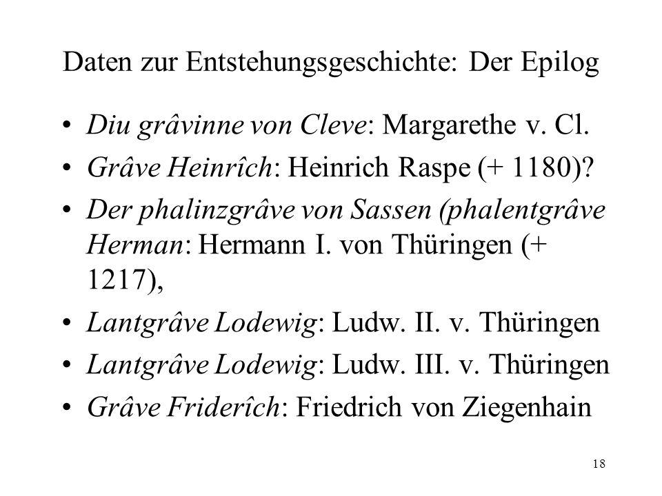 18 Daten zur Entstehungsgeschichte: Der Epilog Diu grâvinne von Cleve: Margarethe v.