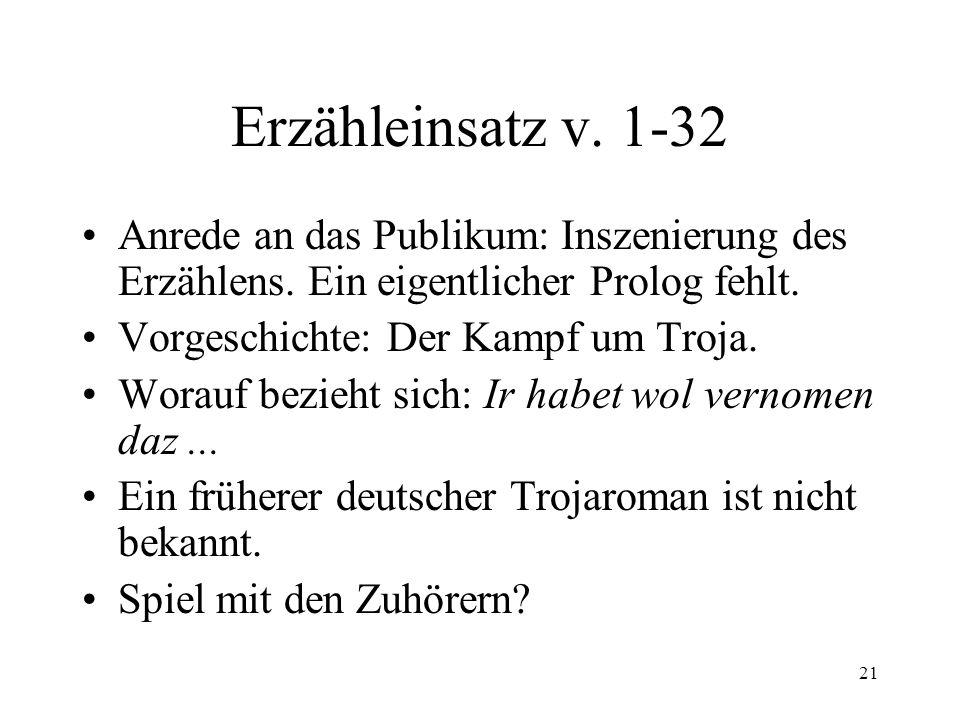 21 Erzähleinsatz v.1-32 Anrede an das Publikum: Inszenierung des Erzählens.