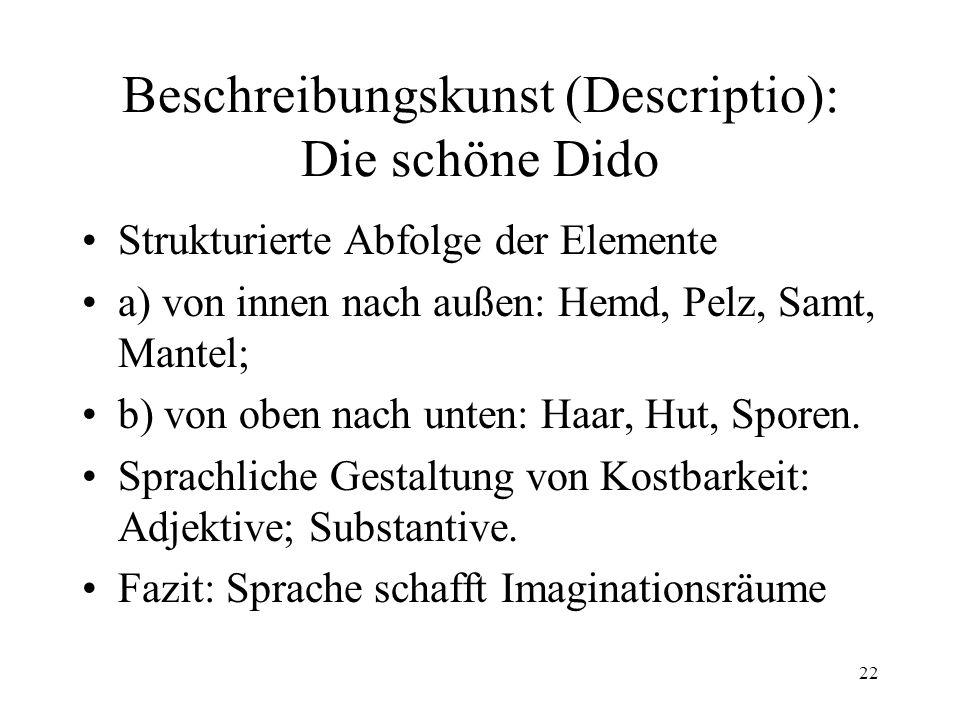 22 Beschreibungskunst (Descriptio): Die schöne Dido Strukturierte Abfolge der Elemente a) von innen nach außen: Hemd, Pelz, Samt, Mantel; b) von oben nach unten: Haar, Hut, Sporen.