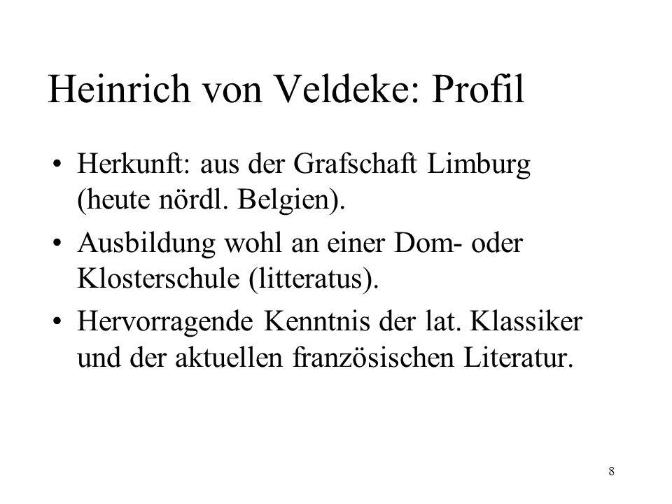 8 Heinrich von Veldeke: Profil Herkunft: aus der Grafschaft Limburg (heute nördl.