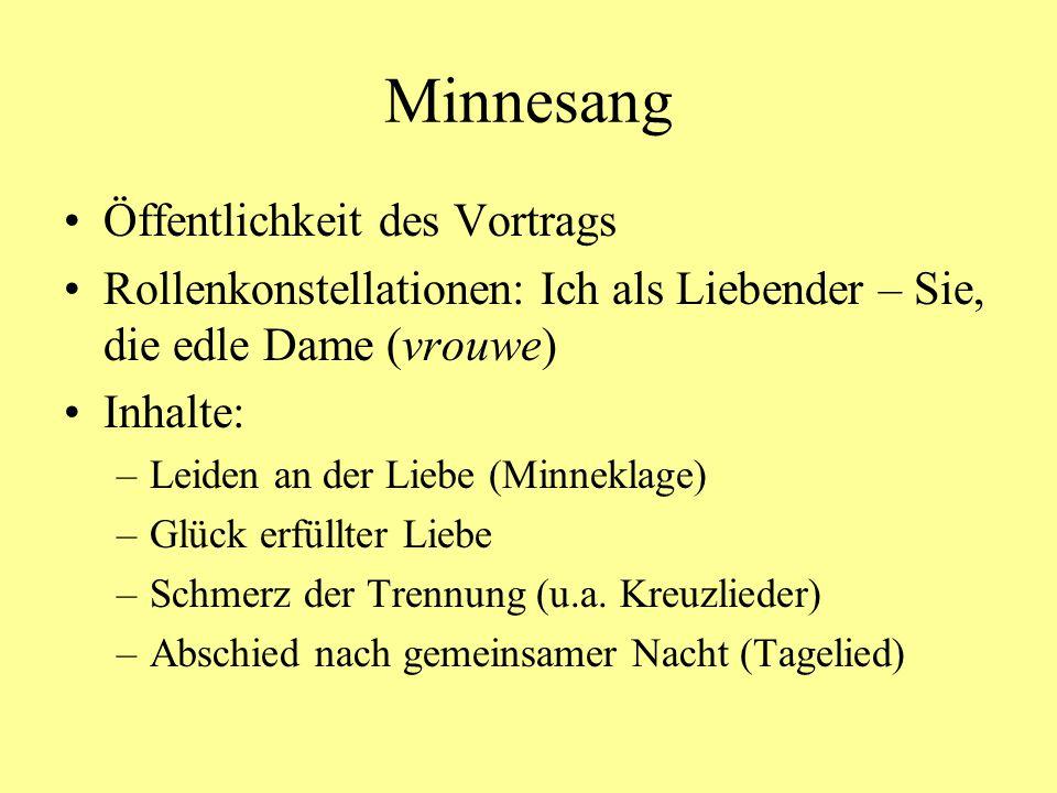 Kürnberger, Falkenlied MF 8,33/9,5 Der Jagdfalke als Motiv von Liebesdichtung.