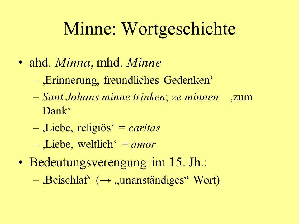 Minne: Wortgeschichte mhd.liebe,Freude, Glück' liep ane leit mac niht gesin mhd.