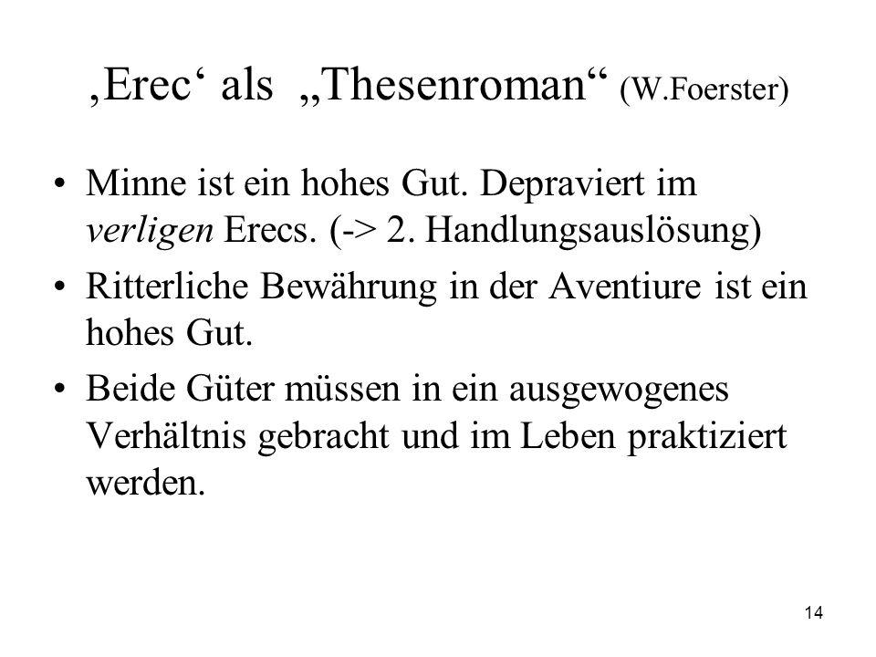 """14 'Erec' als """"Thesenroman"""" (W.Foerster) Minne ist ein hohes Gut. Depraviert im verligen Erecs. (-> 2. Handlungsauslösung) Ritterliche Bewährung in de"""