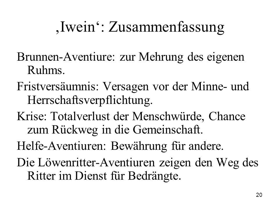 20 'Iwein': Zusammenfassung Brunnen-Aventiure: zur Mehrung des eigenen Ruhms. Fristversäumnis: Versagen vor der Minne- und Herrschaftsverpflichtung. K