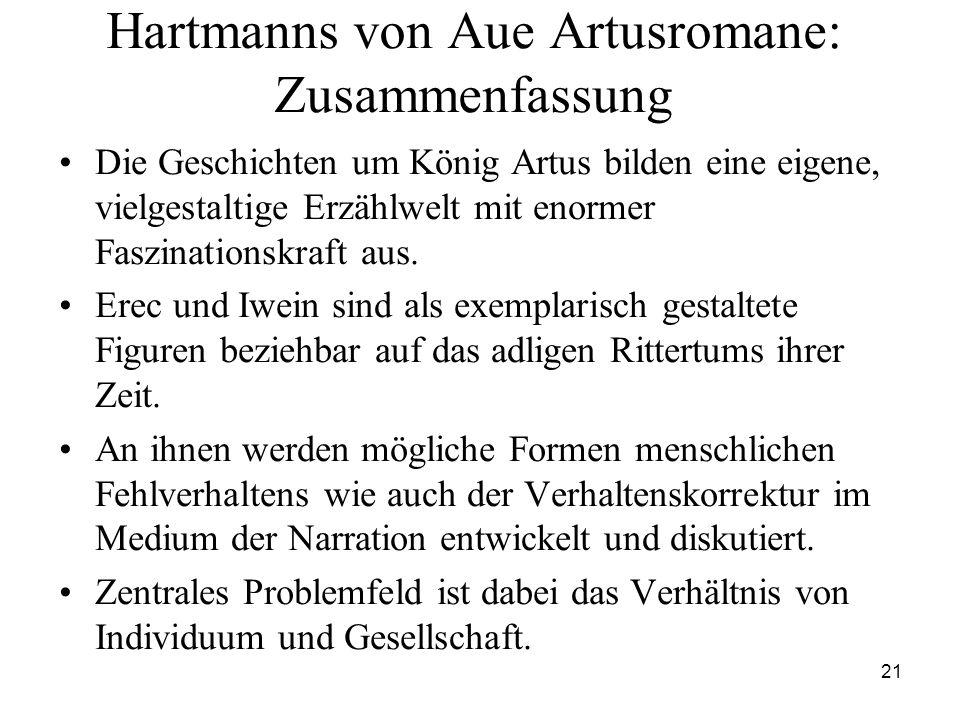 21 Hartmanns von Aue Artusromane: Zusammenfassung Die Geschichten um König Artus bilden eine eigene, vielgestaltige Erzählwelt mit enormer Faszination