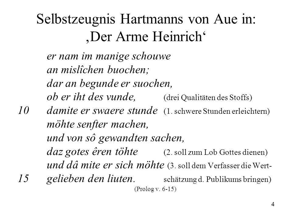 4 Selbstzeugnis Hartmanns von Aue in: 'Der Arme Heinrich' er nam im manige schouwe an mislîchen buochen; dar an begunde er suochen, ob er iht des vund