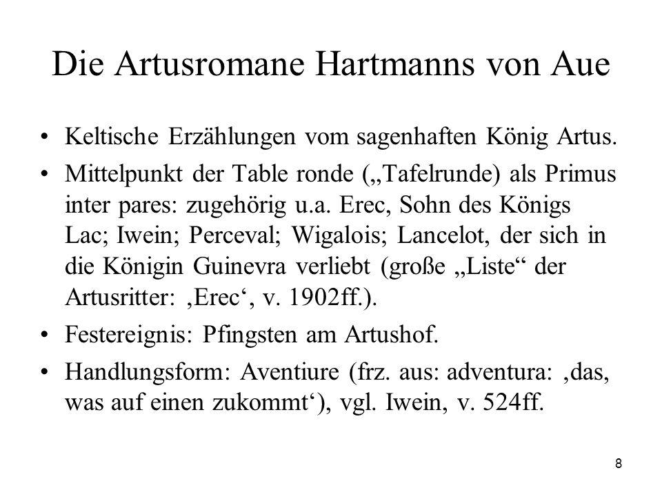 """8 Die Artusromane Hartmanns von Aue Keltische Erzählungen vom sagenhaften König Artus. Mittelpunkt der Table ronde (""""Tafelrunde) als Primus inter pare"""