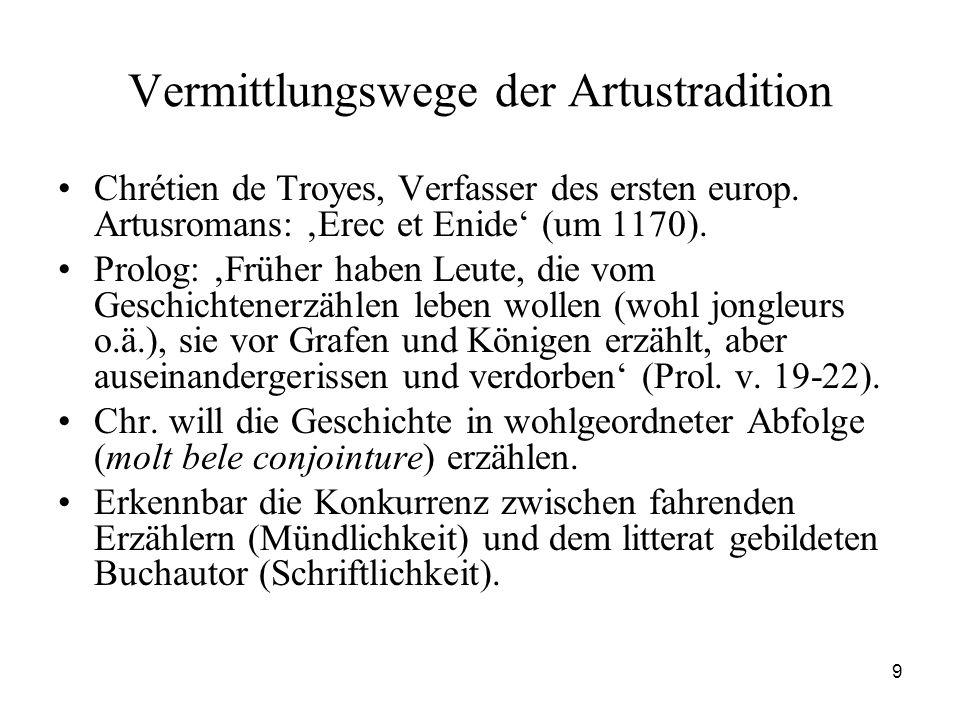 9 Vermittlungswege der Artustradition Chrétien de Troyes, Verfasser des ersten europ. Artusromans: 'Erec et Enide' (um 1170). Prolog: 'Früher haben Le