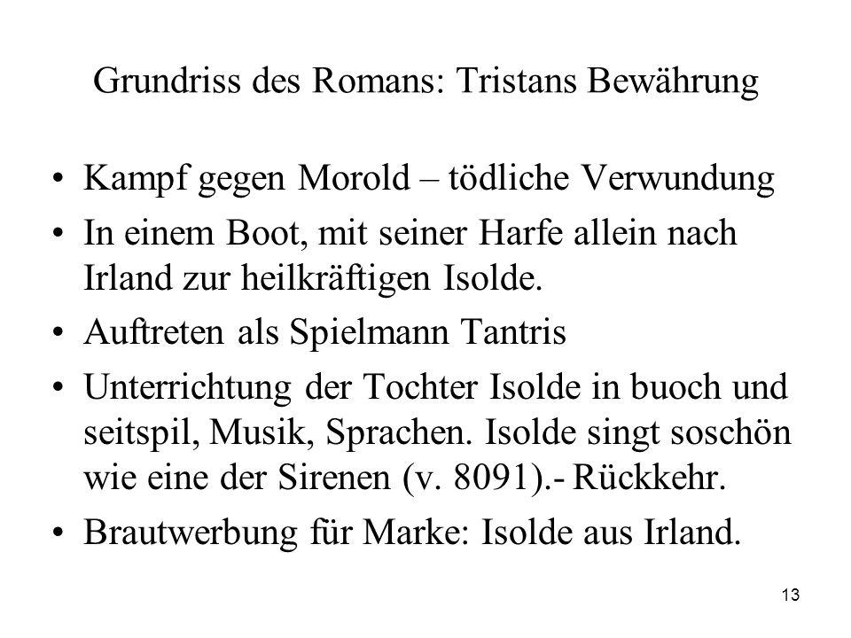 13 Grundriss des Romans: Tristans Bewährung Kampf gegen Morold – tödliche Verwundung In einem Boot, mit seiner Harfe allein nach Irland zur heilkräftigen Isolde.