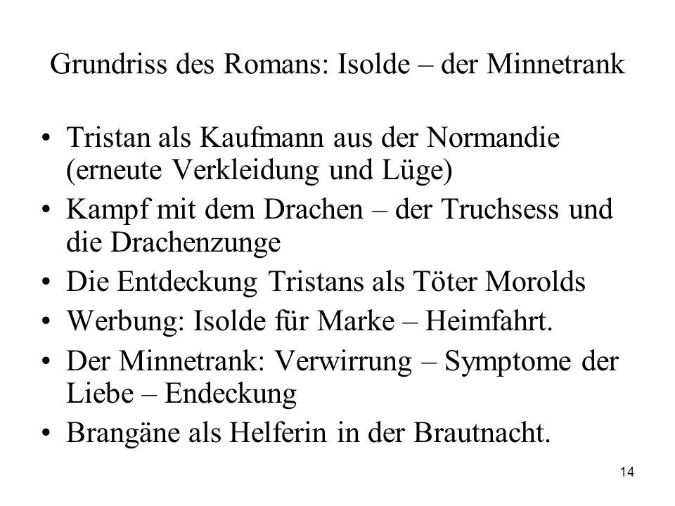 14 Grundriss des Romans: Isolde – der Minnetrank Tristan als Kaufmann aus der Normandie (erneute Verkleidung und Lüge) Kampf mit dem Drachen – der Tru