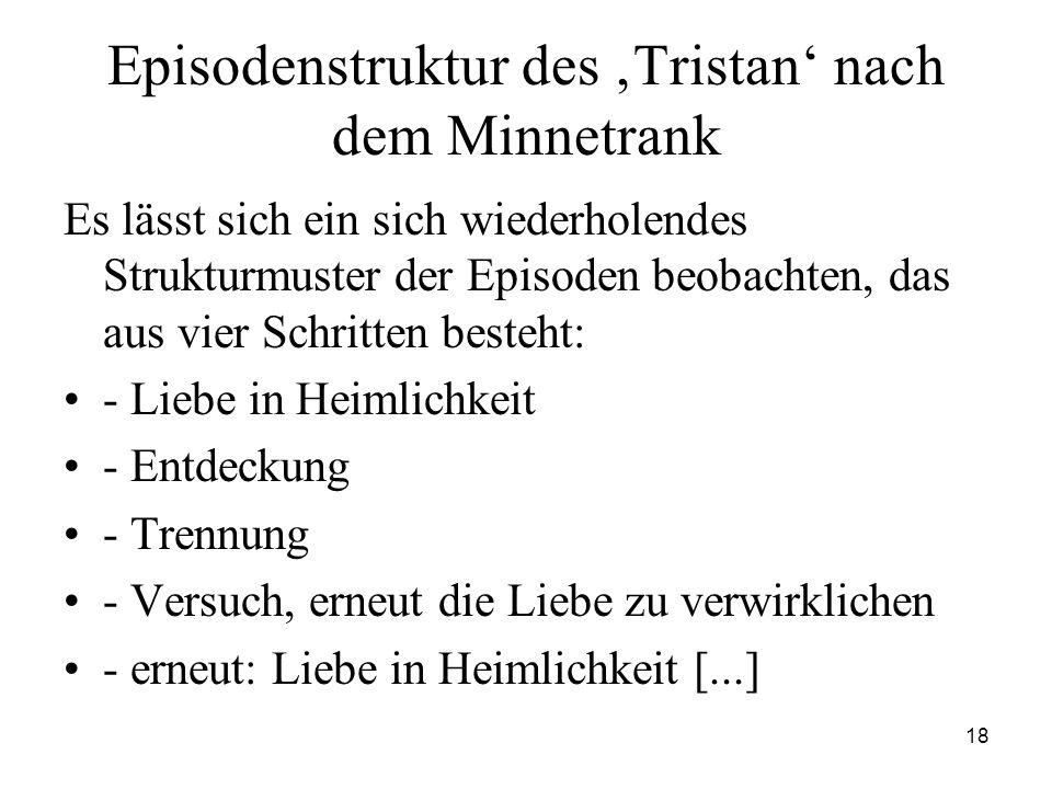 18 Episodenstruktur des 'Tristan' nach dem Minnetrank Es lässt sich ein sich wiederholendes Strukturmuster der Episoden beobachten, das aus vier Schri