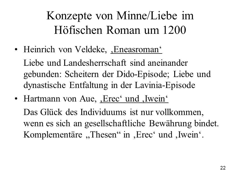 22 Konzepte von Minne/Liebe im Höfischen Roman um 1200 Heinrich von Veldeke, 'Eneasroman' Liebe und Landesherrschaft sind aneinander gebunden: Scheite