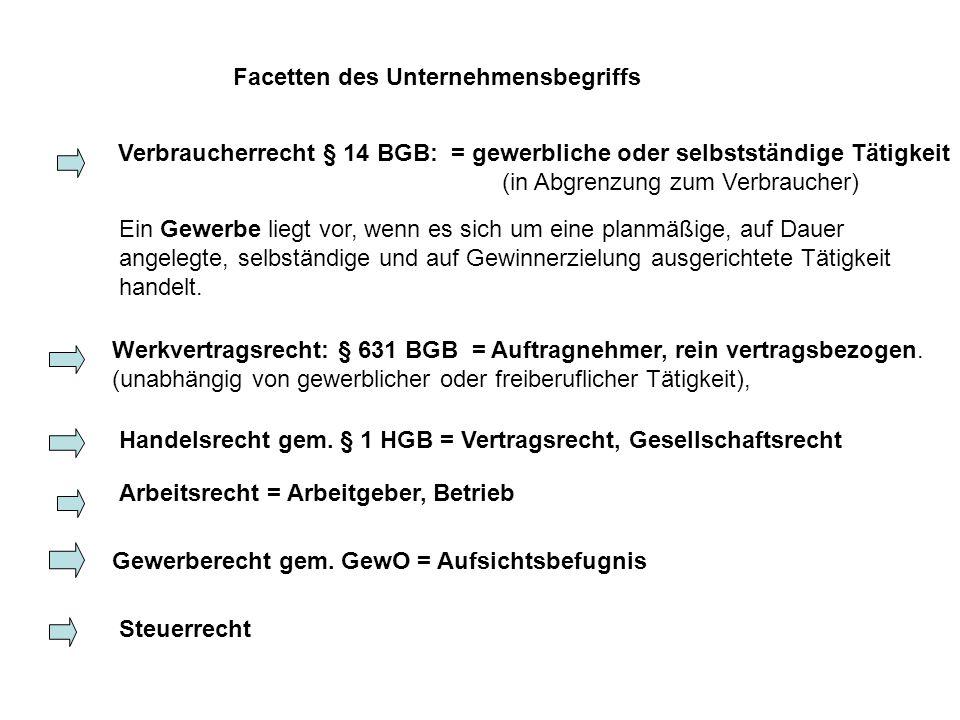 Facetten des Unternehmensbegriffs Verbraucherrecht § 14 BGB: = gewerbliche oder selbstständige Tätigkeit (in Abgrenzung zum Verbraucher) Ein Gewerbe l