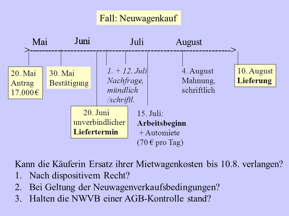 Fall: Neuwagenkauf 15.Juli: Arbeitsbeginn + Automiete (70 € pro Tag) 20.