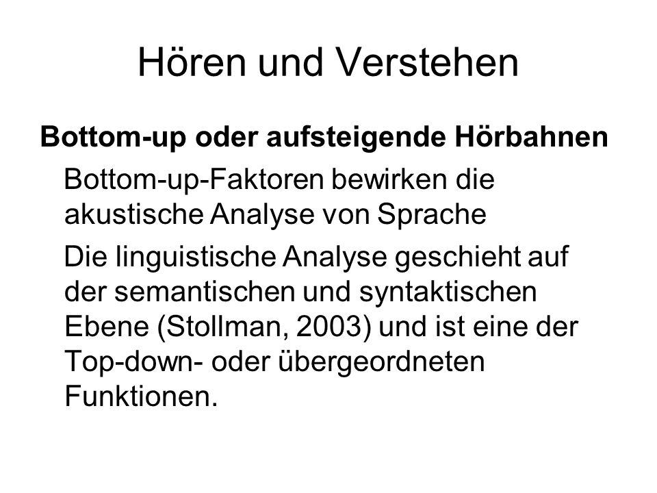Hören und Verstehen Bottom-up oder aufsteigende Hörbahnen Bottom-up-Faktoren bewirken die akustische Analyse von Sprache Die linguistische Analyse geschieht auf der semantischen und syntaktischen Ebene (Stollman, 2003) und ist eine der Top-down- oder übergeordneten Funktionen.