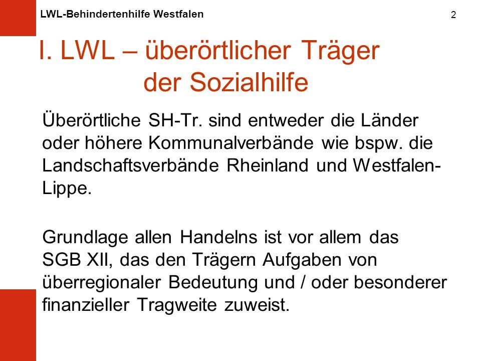 LWL-Behindertenhilfe Westfalen 2 I.LWL – überörtlicher Träger der Sozialhilfe Überörtliche SH-Tr.