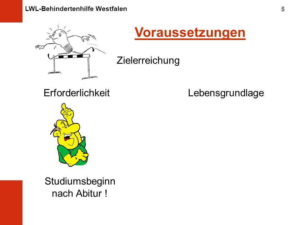 LWL-Behindertenhilfe Westfalen 5 Voraussetzungen Zielerreichung Erforderlichkeit Studiumsbeginn nach Abitur .