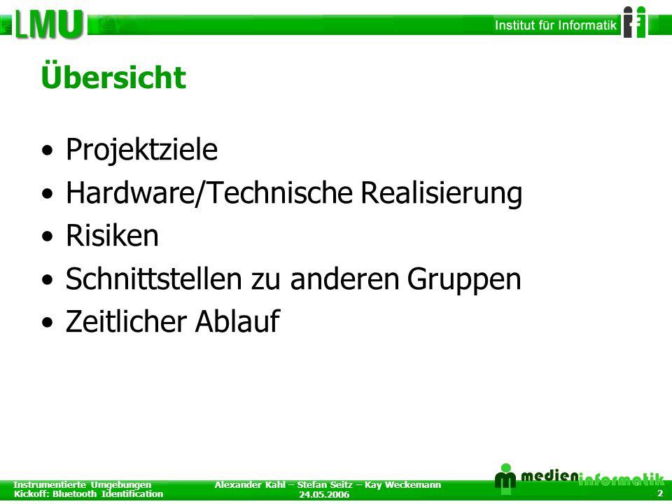 Instrumentierte Umgebungen Kickoff: Bluetooth Identification 24.05.2006 Alexander Kahl – Stefan Seitz – Kay Weckemann 2 Übersicht Projektziele Hardwar