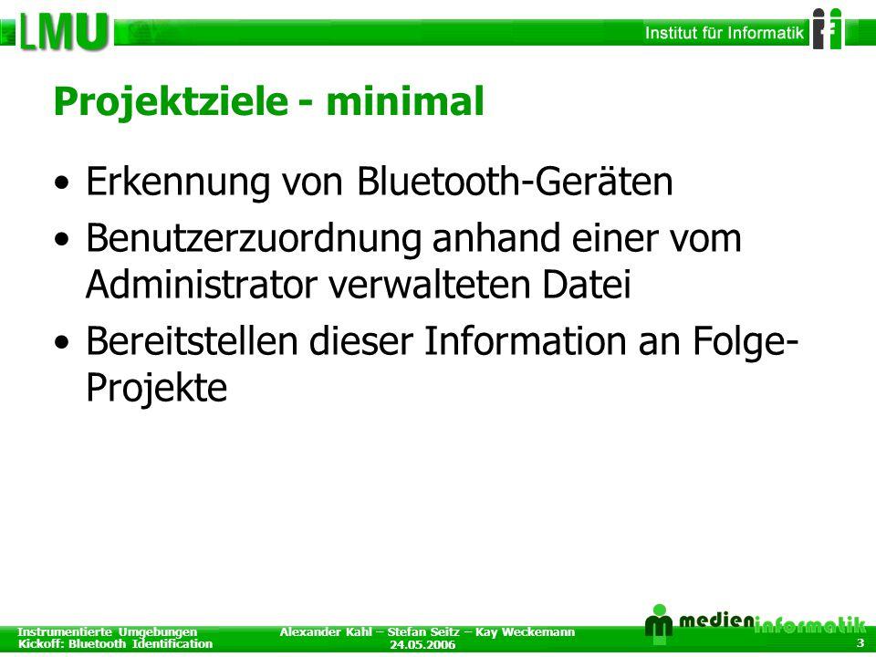 Instrumentierte Umgebungen Kickoff: Bluetooth Identification 24.05.2006 Alexander Kahl – Stefan Seitz – Kay Weckemann 3 Projektziele - minimal Erkennu