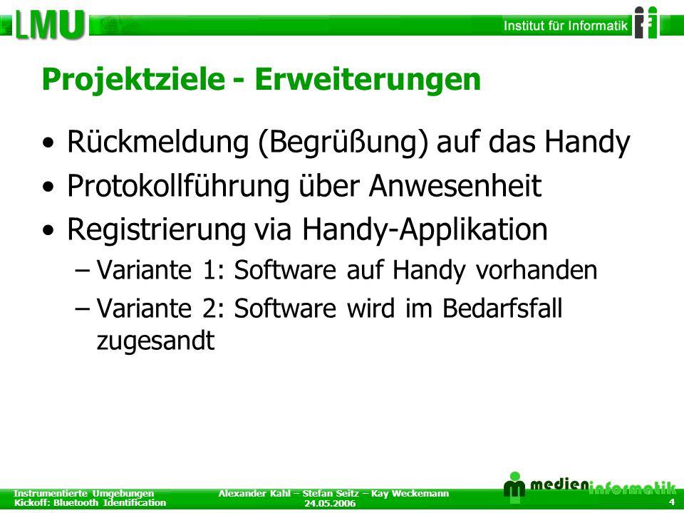 Instrumentierte Umgebungen Kickoff: Bluetooth Identification 24.05.2006 Alexander Kahl – Stefan Seitz – Kay Weckemann 4 Projektziele - Erweiterungen R